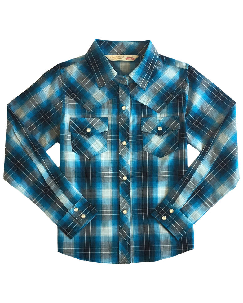 Ely Walker Girls' Turquoise Plaid Long Sleeve Western Shirt , Turquoise, hi-res