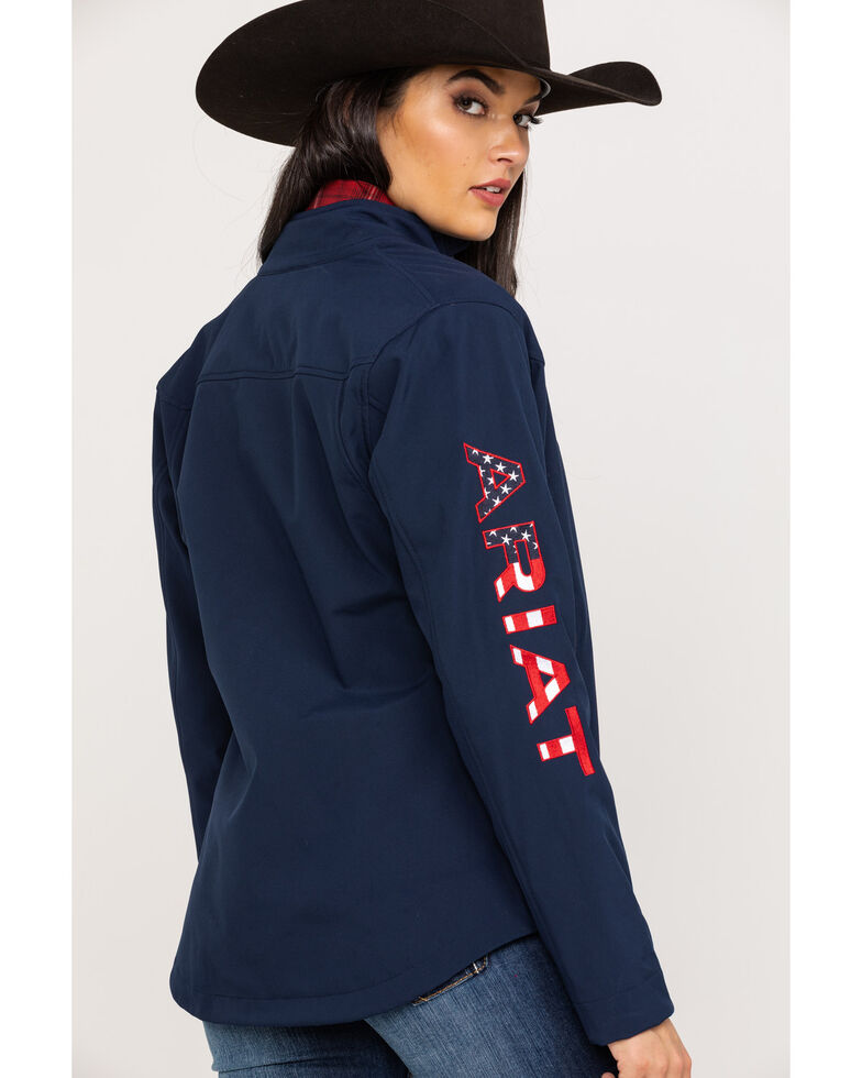 Ariat Women's Navy USA Team Softshell Jacket, Navy, hi-res
