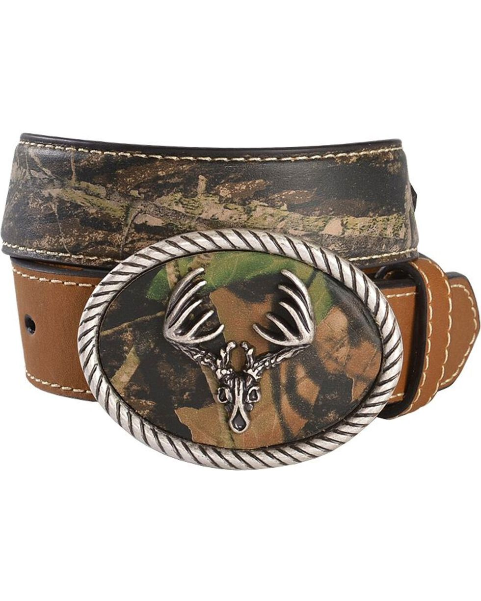 Nocona Camo Deer Skull Buckle Western Belt, Brown, hi-res
