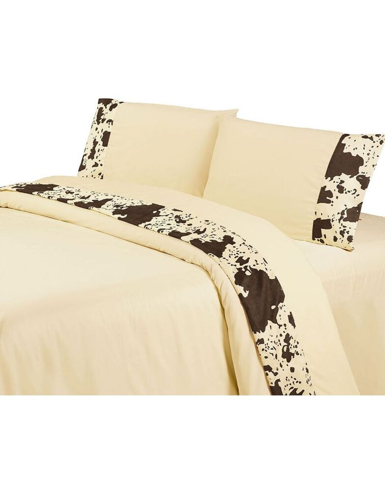 HiEnd Accents Printed Cowhide 4-Piece Queen Sheet Set, Multi, hi-res