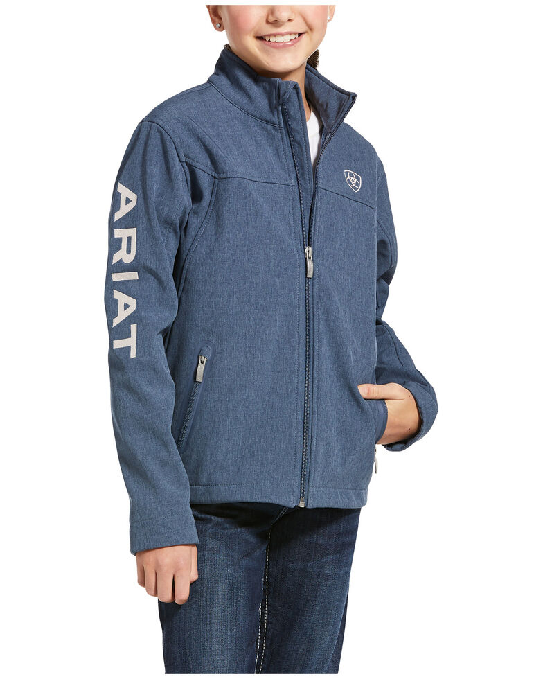 Ariat Girls' Lake Life Heather Youth New Team Softshell Jacket , Blue, hi-res