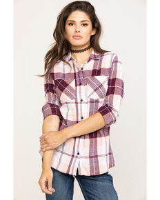 Derek Heart Women's Wine Plaid Tunic, Wine, hi-res