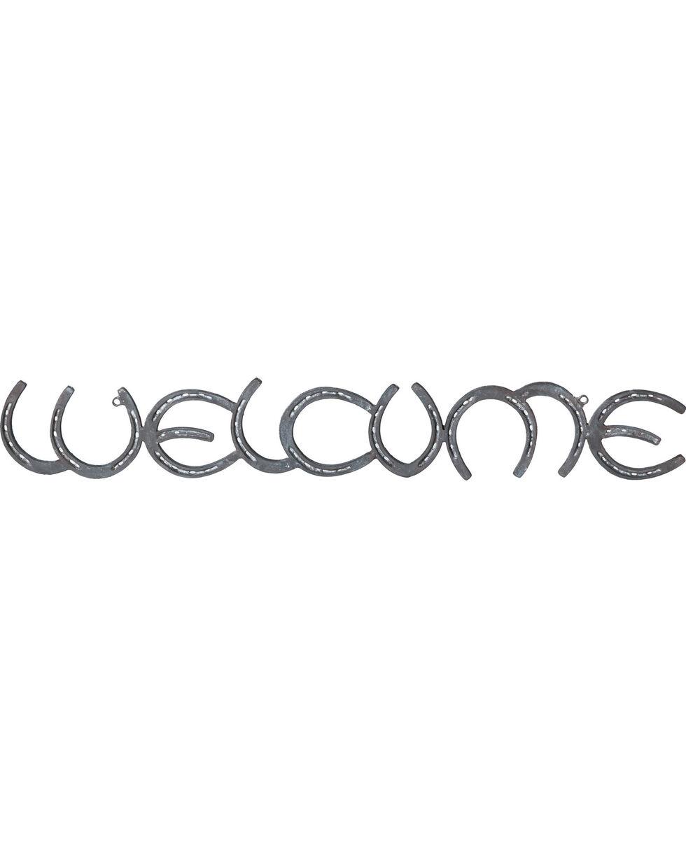 Evergreen Welcome Metal Horseshoe Sign , Brown, hi-res