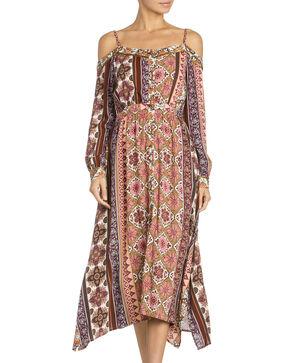 Miss Me Women's Open-Shoulder Midi Dress , Multi, hi-res