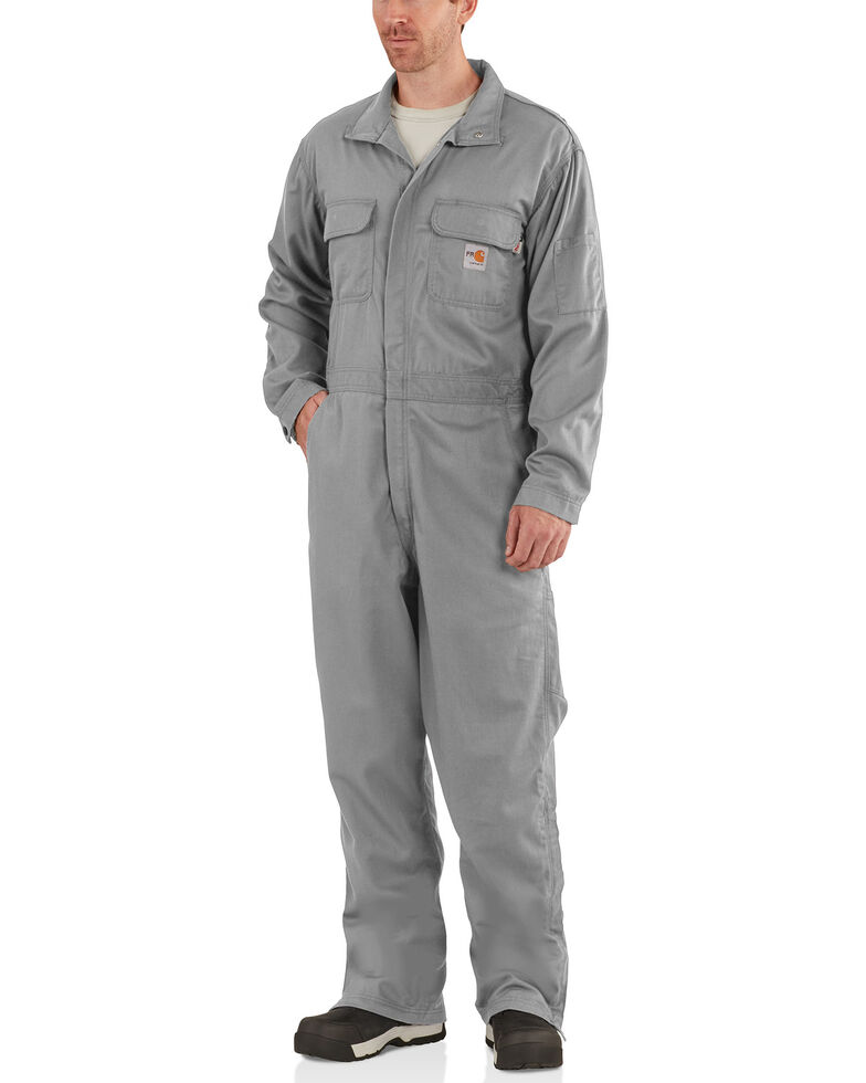 Carhartt Men's Flame-Resistant Deluxe Coveralls, Grey, hi-res