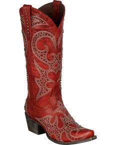 Lane Women's Lovesick Stud Western Fashion Boots, Red, hi-res