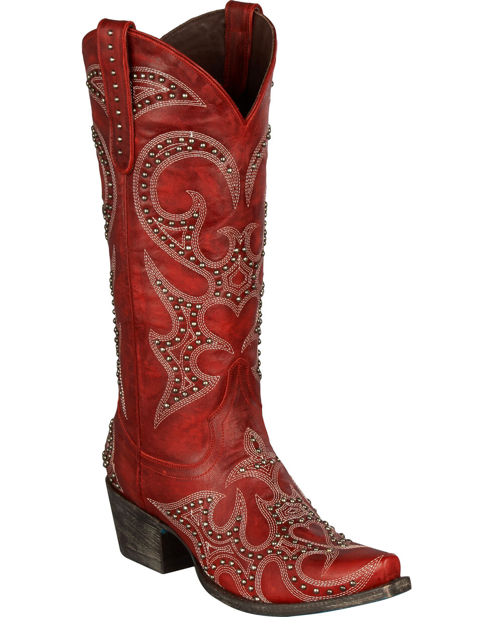 Lane Women's Lovesick Stud Western Fashion Boots, Red, hi-res