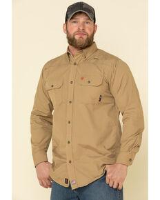 Ariat Men's Khaki FR Solid Featherlight Long Sleeve Work Shirt , Beige/khaki, hi-res