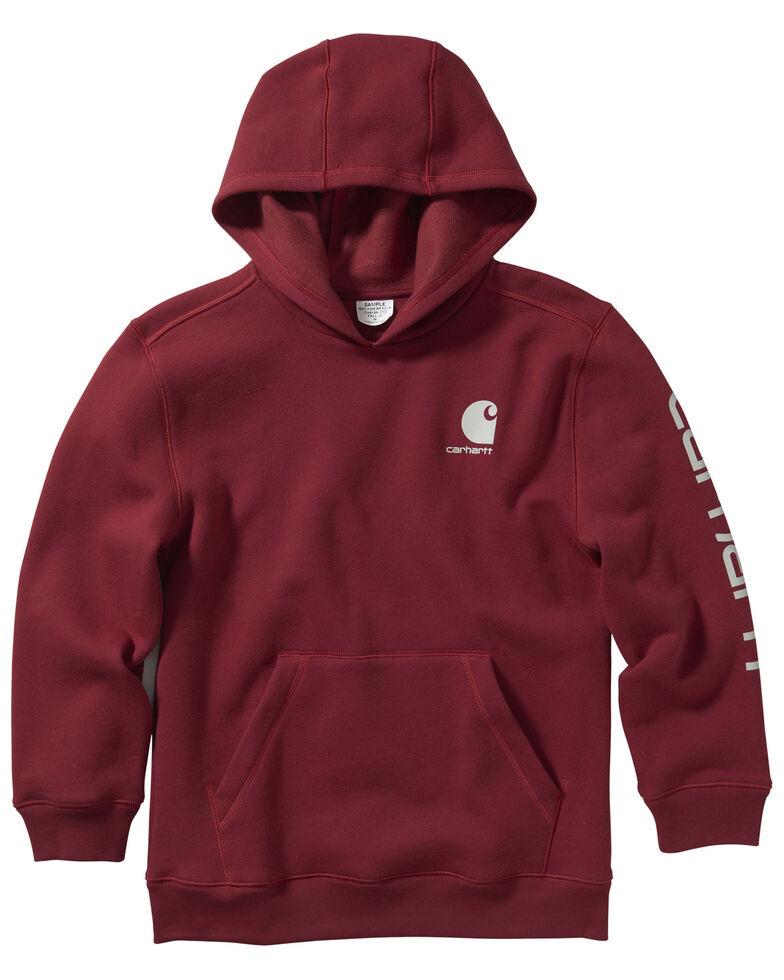 Carhartt Boys' Red Fleece Sleeve Logo Graphic Hooded Sweatshirt , Red, hi-res