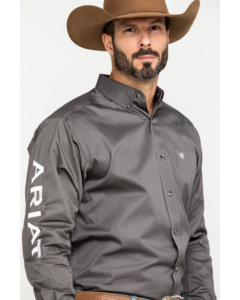 Ariat Men's Grey Team Logo Twill Long Sleeve Western Shirt - Big , Grey, hi-res