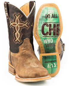 Tin Haul Youth Boys' I Believe Western Boots - Square Toe, Tan, hi-res