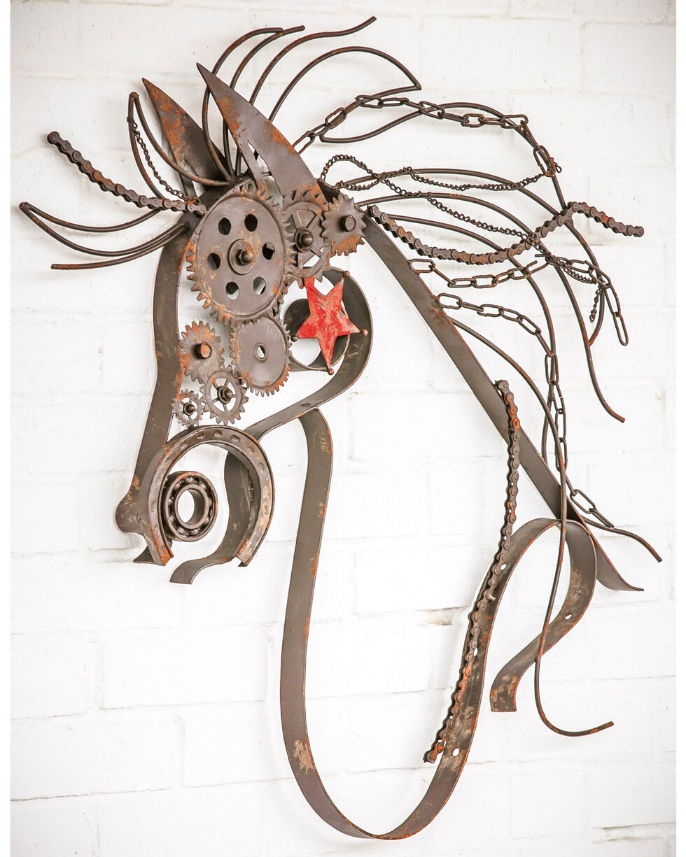 Evergreen Rustic Large Metal War Horse Wall Decor , Brown, hi-res