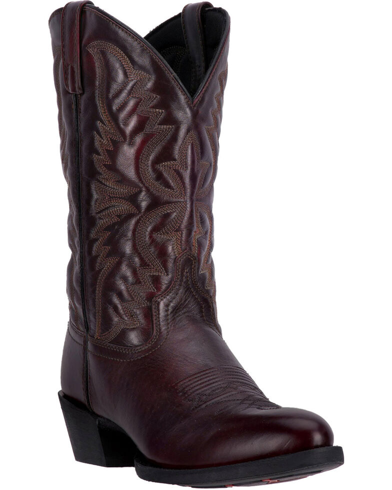 Laredo Men's Embroidered Round Toe Western Boots, Black Cherry, hi-res