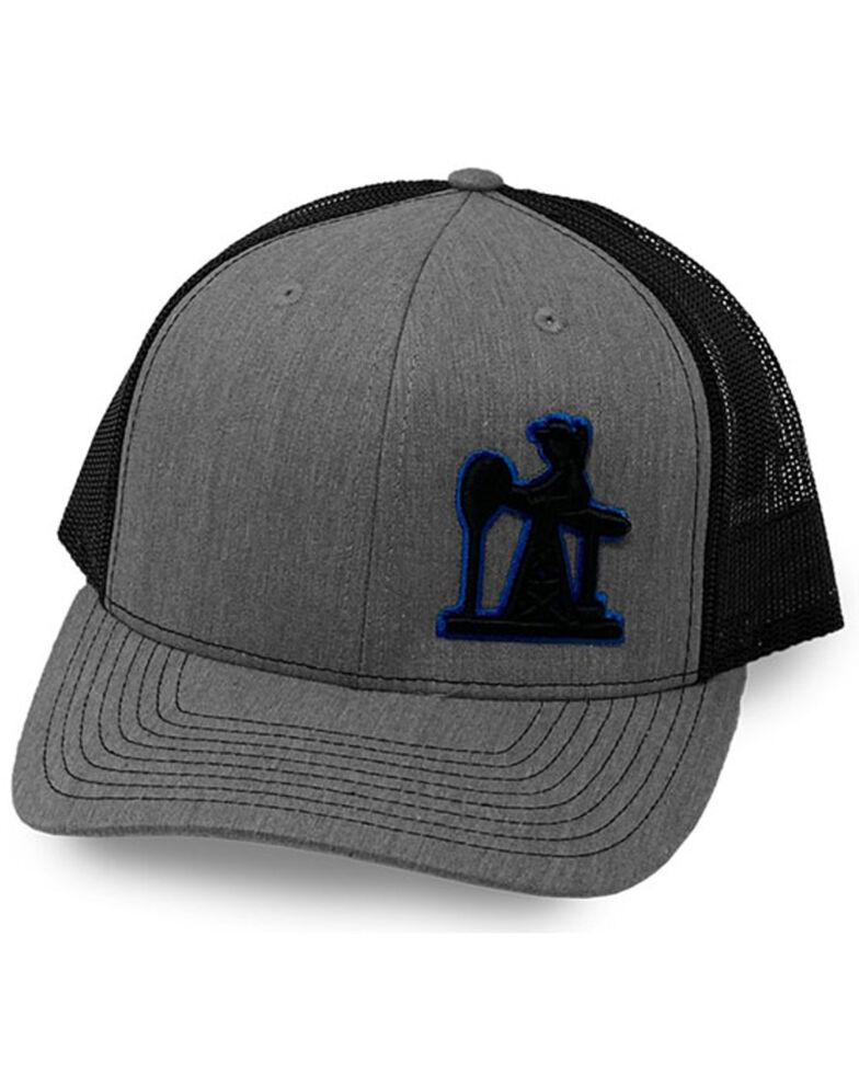 Oil Field Hats Men's Heather Grey PJ Cowboy Puff Mesh-Back Ball Cap , Grey, hi-res