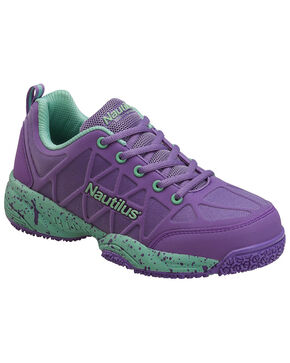 Nautilus Women's Oxford Athletic Work Shoes - Safety Toe, Purple, hi-res