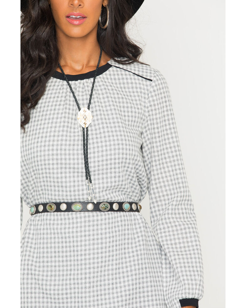 MI. OH. MI. Women's Long Sleeve Plaid Romper, Grey, hi-res