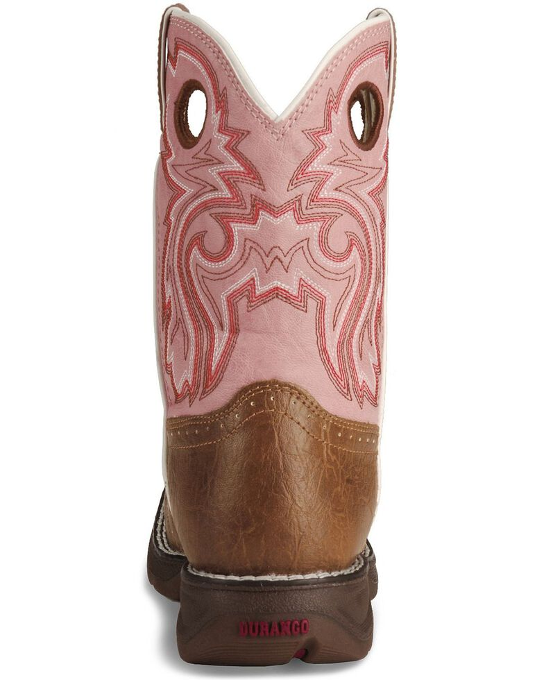 Durango Girls' Pink Cowgirl Boots - Square Toe, Tan, hi-res