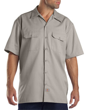 Dickies Short Sleeve Work Shirt-Folded, Silver, hi-res