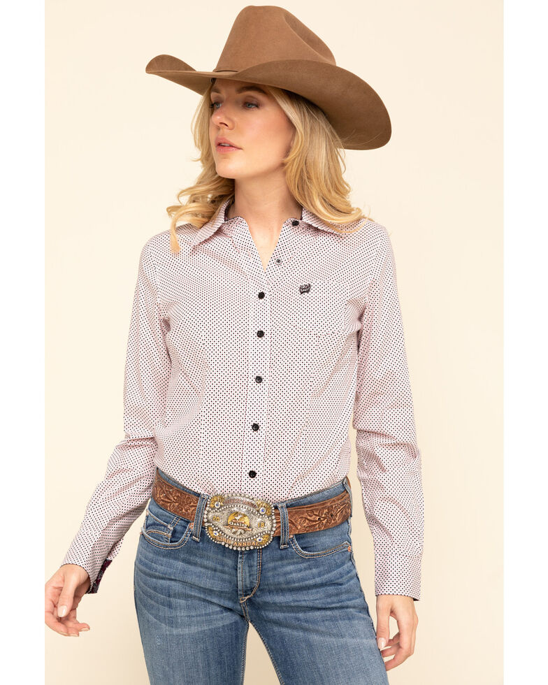 Cinch Women's Pink Dot Button Long Sleeve Western Shirt , Pink, hi-res