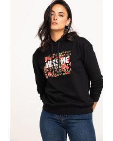 Miss Me Women's Floral Logo Hoodie , Black, hi-res