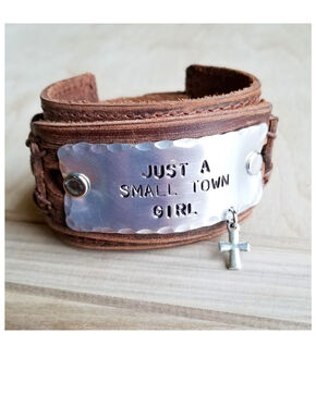 Jewelry Junkie Women's Just A Small Town Girl Leather Cuff, Brown, hi-res