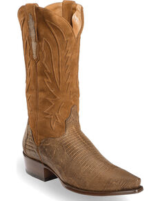 El Dorado Men's Handmade Lizard Tobacco Cowboy Boots - Snip Toe , Brown, hi-res