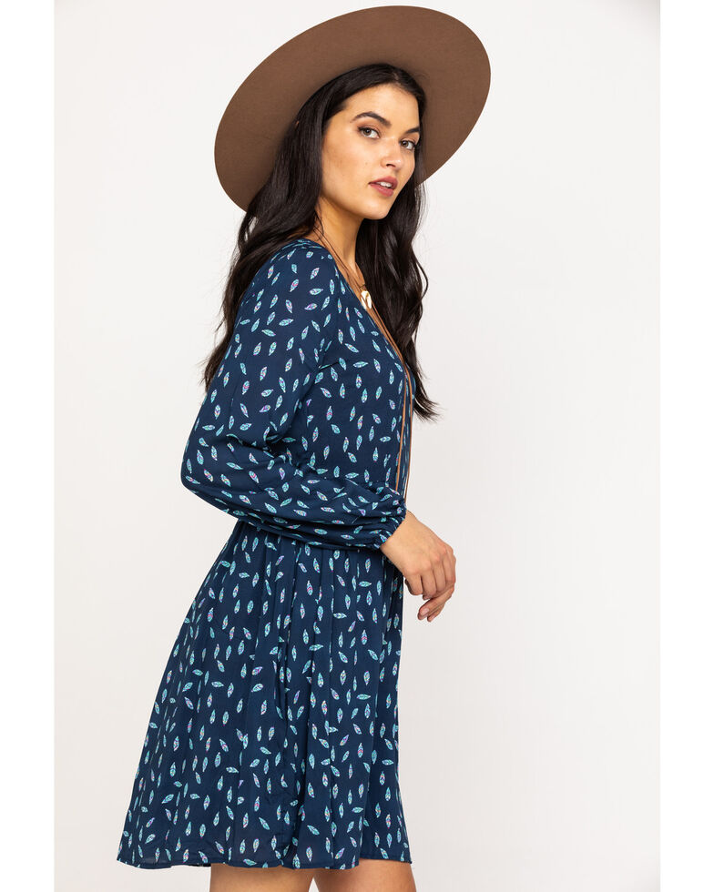 Roper Women's Blue Feather Print Wrap Dress, Blue, hi-res
