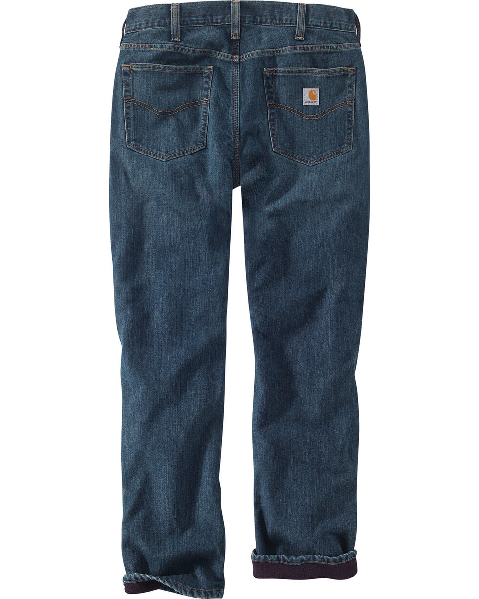 Carhartt Men's Fleece Lined Holter Jeans - Straight Leg , Indigo, hi-res