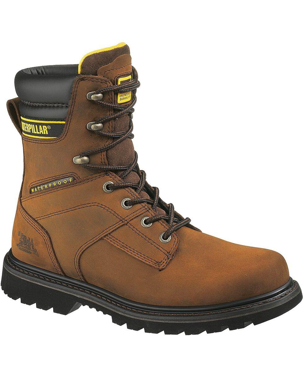 """CAT Men's Salvo Waterproof 8"""" Work Boots, Dark Brown, hi-res"""