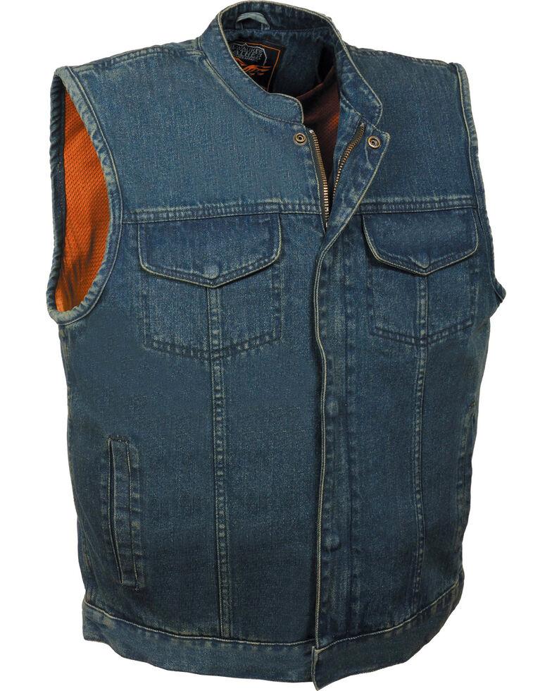 Milwaukee Leather Men's Concealed Snap Denim Club Style Vest - 5X, Blue, hi-res