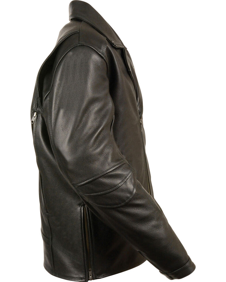 Milwaukee Leather Men's Triple Stitch Extra Long Biker Jacket , Black, hi-res