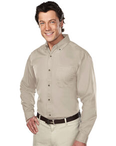 Tri-Mountain Men's Khaki 2X Professional Twill Long Sleeve Shirt - Tall, Beige/khaki, hi-res