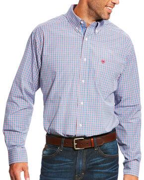 Ariat Men's Pro Series Lewisville Mykonos Blue Plaid Long Sleeve Button Down Shirt, Blue, hi-res