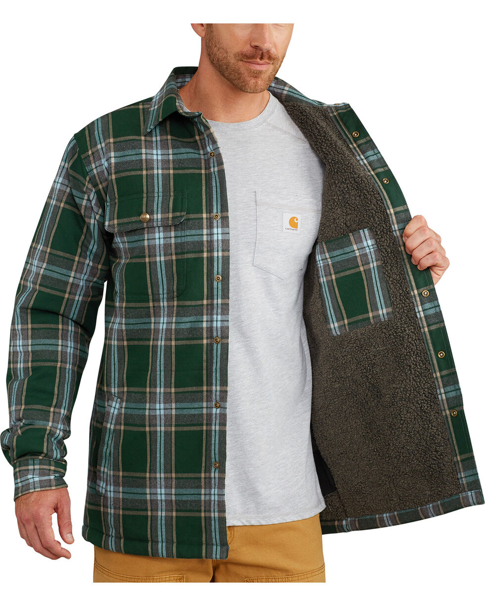 Carhartt Men's Hubbard Sherpa-Lined Shirt Jacket - Big, Green, hi-res