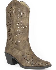Roper Women's Brown Alisa Western Boots - Snip Toe , Brown, hi-res