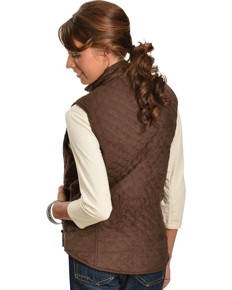 Outback Women's Grand Prix Quilted Vest, Brown, hi-res