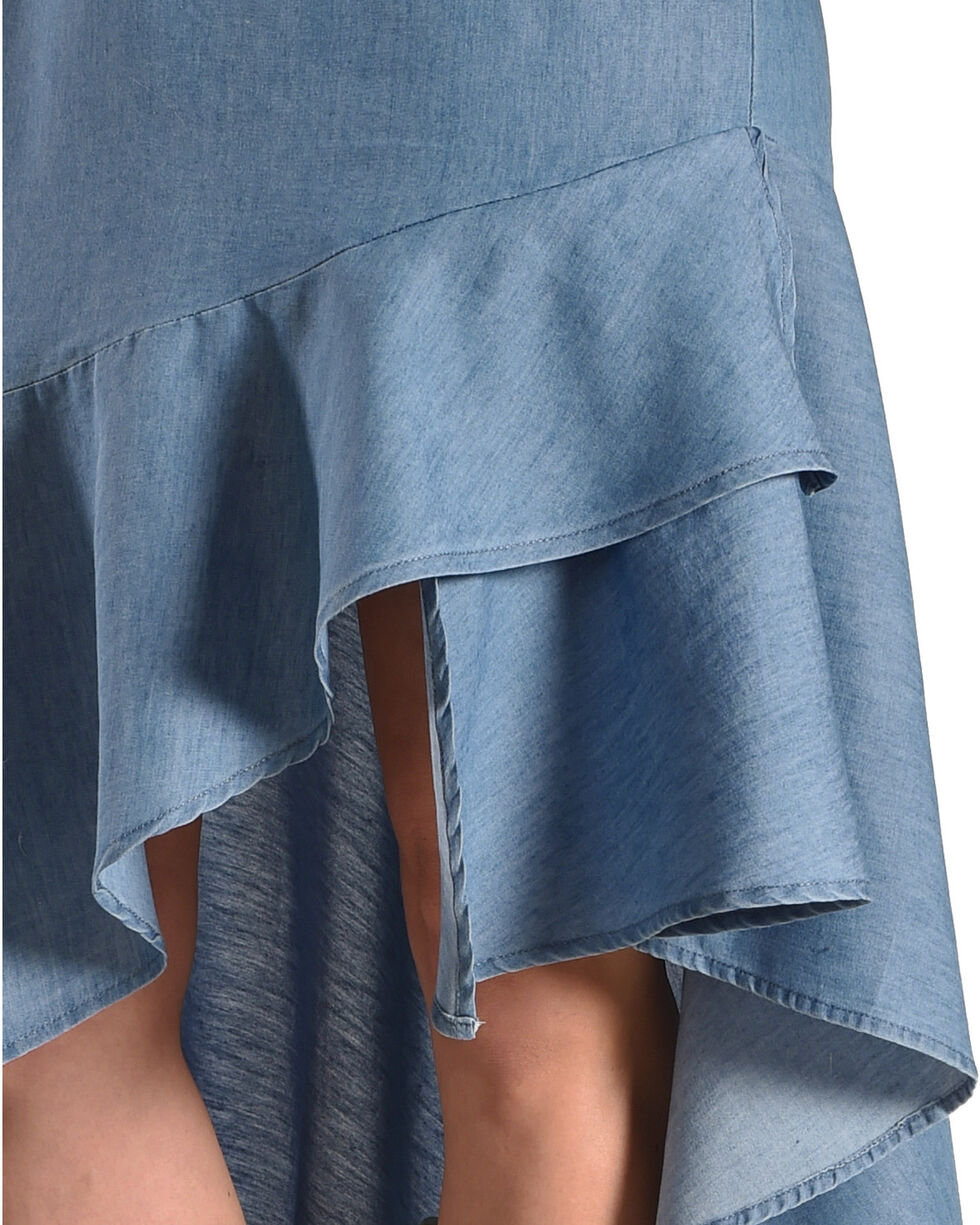 New Direction Sport Women's Indigo High Low Ruffle Hem Skirt , Indigo, hi-res