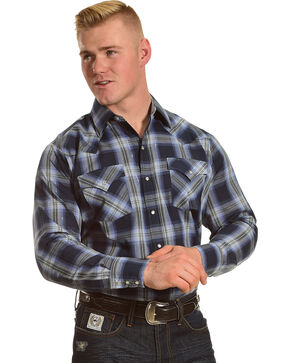 Ely Cattleman Men's Blue Lurex Plaid Western Shirt , Blue, hi-res