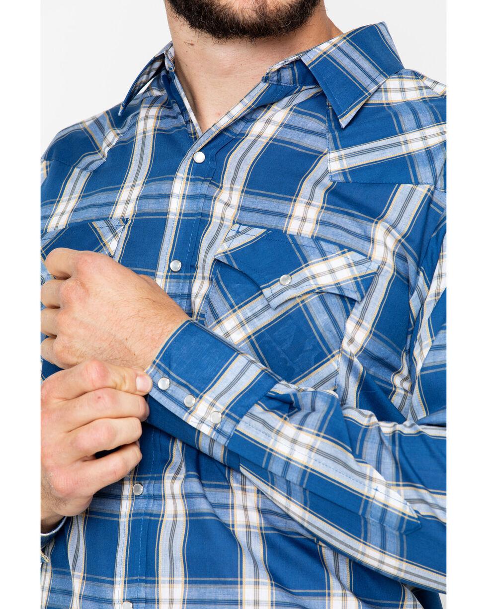 Ely Cattleman Men's Plaid Long Sleeve Western Shirt , Blue, hi-res