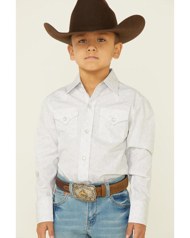 Ely Walker Boys' White Paisley Print Long Sleeve Snap Western Shirt, White, hi-res