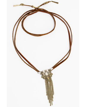 Idyllwind Women's Crystal Pendant Bolo Wrap Necklace, Brown, hi-res