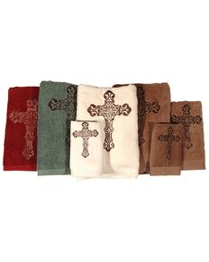 HiEnd Accents Three-Piece Embroidered Cross Bath Towel Set - Brown, Brown, hi-res