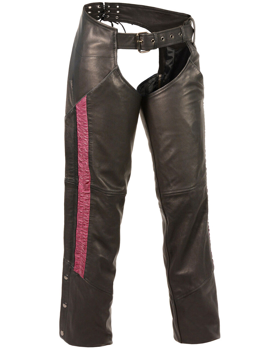 Milwaukee Leather Women's Lightweight Low Rise Crinkled Striping Chaps - 3X, , hi-res