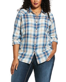 Ariat Women's R.E.A.L.Summer Fling Billie Jean Shirt - Plus, Blue, hi-res