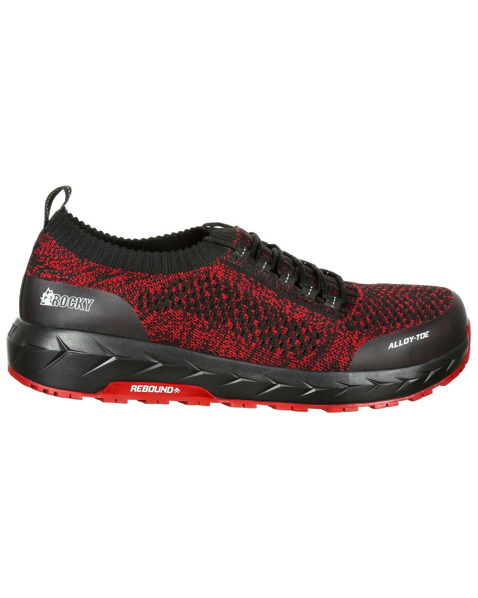 Rocky Men's WorkKnit LX Athletic Work Shoes - Round Toe, Blue/red, hi-res