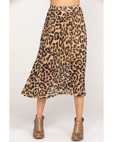 Flying Tomato Women's Leopard Pleated Midi Skirt, Leopard, hi-res