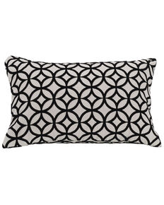 HiEnd Accents Black Augusta Cutted Velvet Pillow, Black, hi-res
