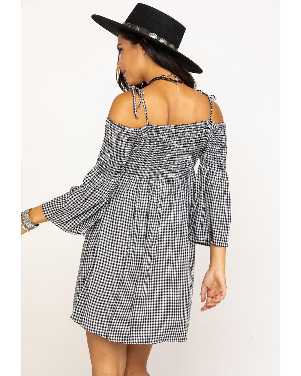 Stetson Women's Gingham Off The Shoulder Dress, Black, hi-res