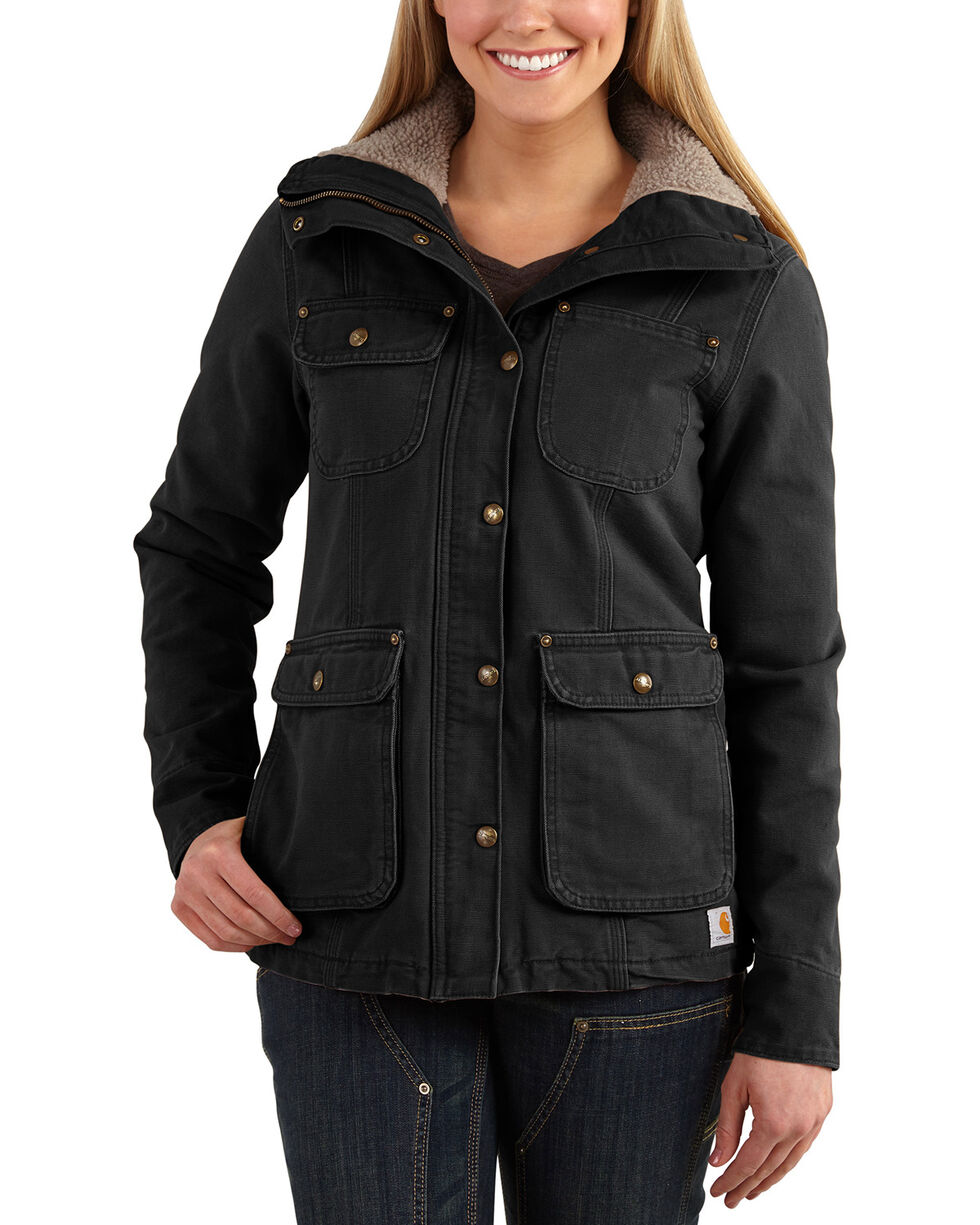 Carhartt Women's Weathered Duck Wesley Coat, Black, hi-res