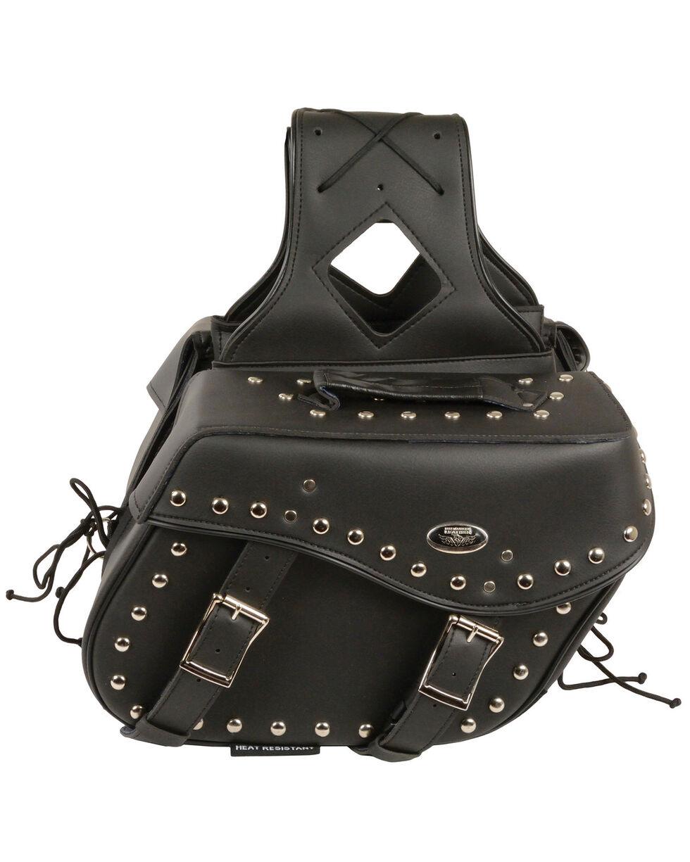 Milwaukee Leather Medium Zip-Off Studded Throw Over Saddle Bag, Black, hi-res